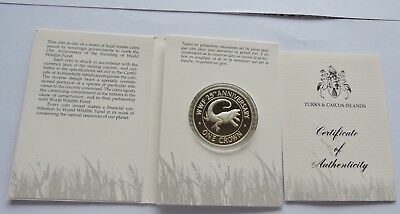 Turks And Caicos 1988 1 Crown Silver Proof Rock Iguana Wwf Conservation W/coa