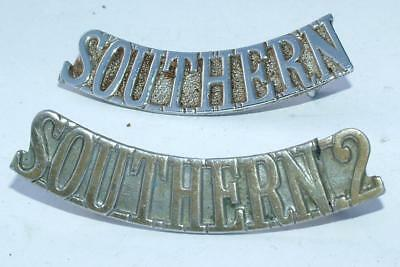 2 x SOUTHERN & SOUTHERN 2 SHOULDER BADGES POLICE / RAILWAY / MILITARY