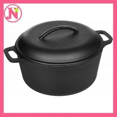 Cast Iron Dutch Oven with Dual Handle Pre-Seasoned Pot Lid Kitchen Cookware 2 Qt