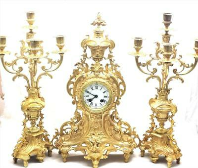 Antique Mantle Clock 19th c French Gilt Pierced Bronze 8 Day Garniture Set