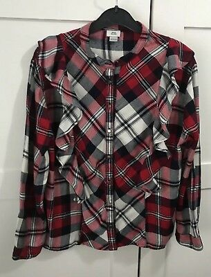 Girls River Island Red Navy White Check Frill Shirt Age 9-10 Years