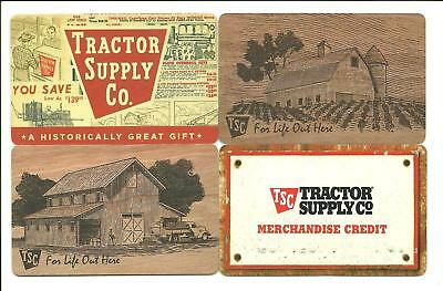 Lot (4) Tractor Supply Gift Cards No $ Value Collectible Barns. Old Ad Design