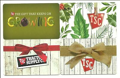 Lot (4) Tractor Supply Gift Cards No $ Value Collectible Bows, Growing Vegtables