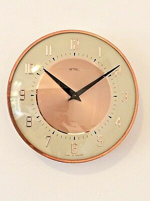 Stylish Vintage Copper Rim Metamec Mechanical Kitchen Clock