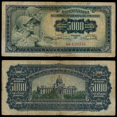 =XI.080) YUGOSLAVIA 5000 dinara 1955 / Without number 2 in right corner / F