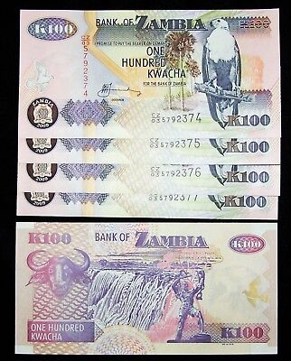ZAMBIA 100 Kwacha X 5 Pieces, 2009, P-38, UNC-paper currency bankotes