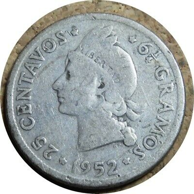 elf Dominican Republic 25 Centavos 1952 Silver