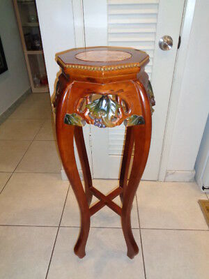 Vintage Hand Carved Oriental Wooden Pedestal/Plant Table with Inlay Marble Top