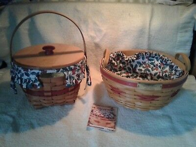 Longaberger Christmas Collection Popcorn Basket And Jingle Bell Basket