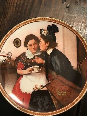 Gossiping In The Alcove By Norman Rockwell Collectors Plate Knowles China