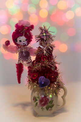 Vintage Valentine's Day Decorated Pink Bottlebrush Tree Ornaments Hearts