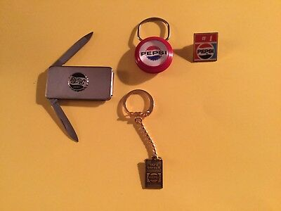Vintage Pepsi Keychains, Money Clip And Pin