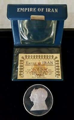 IRAN 1971 200 Rials Silver Proof Coin w/ case, COA. ASW 1.927 oz; Persia Empire.
