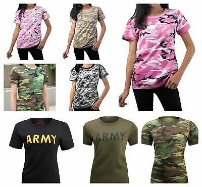 Womens Ladies Army Outdoor Gym Training Running Boot Camp Camo T-Shirt Top