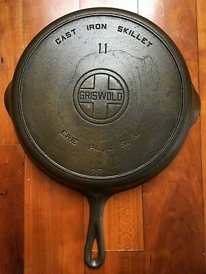 Griswold Number 11 Large Block Logo Cast Iron Skillet With Heat Ring Pattern 717