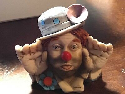 Vintage  D. Brosaito  (1986) Signed Clown Bust -Red Headed Clown