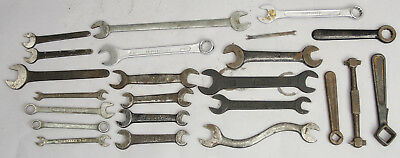 Antique Wrench Hand Tool Automotive 23 Piece Lot Craftsman Ford Fiat Decor