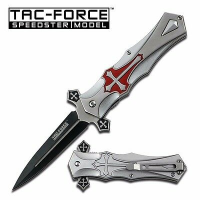 TAC-FORCE Black Blade with Blood Groove Red Cross Pocket Knife TF-817RD A
