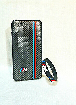 Carbon Fiber Case iPhone 7,8,7+,8+,X,XR,XS BMW M Logo FREE Bracelet Stylish