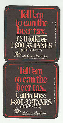 """Lot Of 5 Anheuser-Busch Coasters-St.Louis, MO 3""""  """"Can The Beer Tax"""" #3070 1990"""