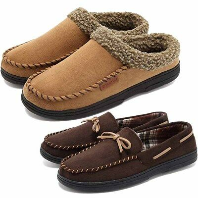3bbc04f283b Winter Mens Micro Suede House Slippers Indoor Warm Shoes Moccasins Sherpa  Loafer