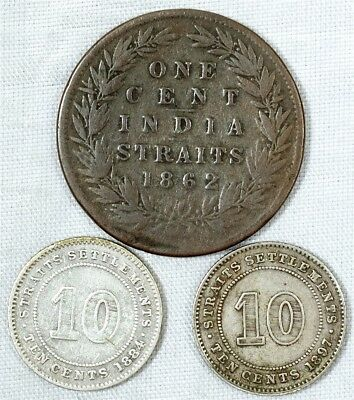 3x Victorian Straits Settlements Coins - 1884 & 1897 10 Cents w/ 1862 Penny