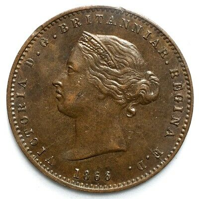 1866 Jersey (Great Britain) 1/26th Shilling - XF+ - KM# 4 - Bronze - Low Mintage