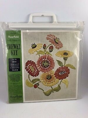 Vintage New In Package Marion Nichols No 106 Zinnia Crewel Embroidery Kit