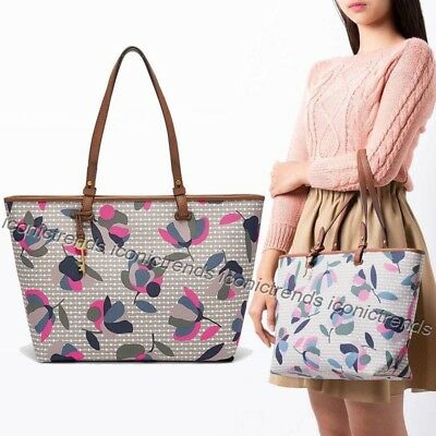 16b41ef30 NWT 🌸 Fossil ZB7499782 Rachel Floral Multi White Pink Brown Top Zip Travel  Tote