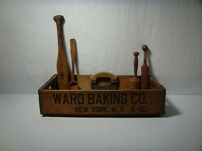 Vintage 1960s Ward Baking Co New York, NY Wood Crate Old Bakery Advertising Box