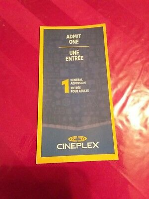 Cineplex Entertainment Admit One Movie Pass