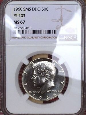 1966 Kennedy FS-103 Double Die Obverse NGC SMS 67 FS-103 * Rare Variety! *