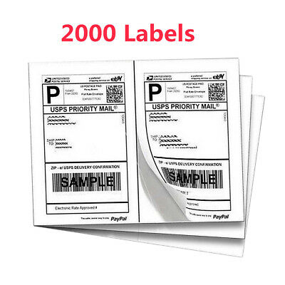 8.5x5.5 2000 Half-Sheet Shipping Labels Self Adhesive for UPS FedEX Paypal US