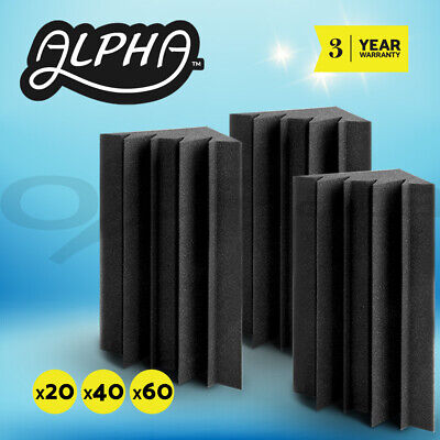 20/40/60pcs Studio Acoustic Foam Panels Tiles Adhesive Tape Corner Bass Trap