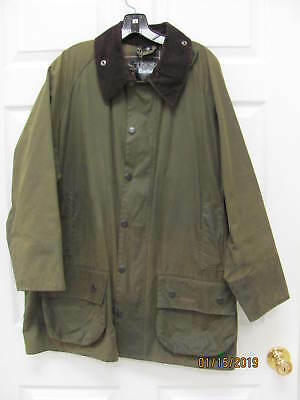 Barbour Classic Beaufort Olive Waxed Cotton Size 46 Made n England w Game Pocket