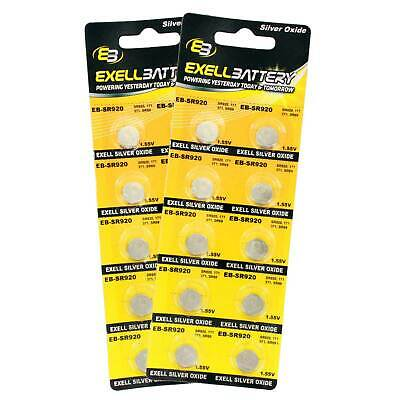 2pc 10pk Exell EB-SR921 Silver Oxide 1.5V Watch Battery Replaces 371/370