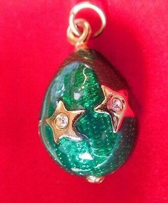 Faberge Replica Green Enameled Star Egg Pendant, Rhinestones In Goldtone Stars