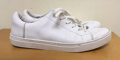 ee7306fa884 TOMS LENOX WHITE Leather Lace Up Sneakers Tennis Shoes Womens Size 9 ...