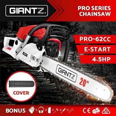 "GIANTZ Latest 62cc Petrol Commercial Chainsaw 20"" Bar E-Start Chain Saw Pruning"