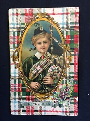 Vintage Collectable Postcard - Early 1900s - Scottish Bagpipe Boy - Greeting