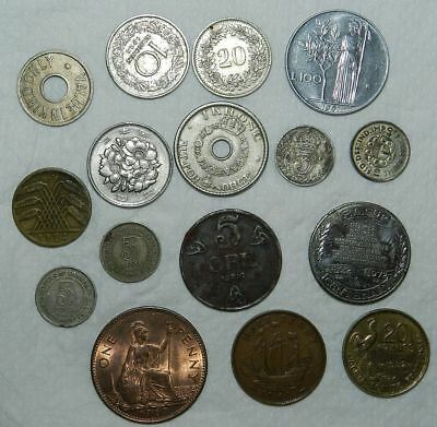 Lot Of 16  Older World Coins & Tokens