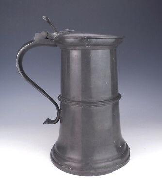 Antique SUPERSIZE English Pewter Lidded Ale Flagon Or Stein - Early & Unusual!