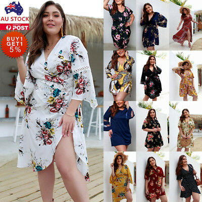 Plus Size Boho Womens Floral Mini Dress Jumpsuit Summer Beach Holiday Party