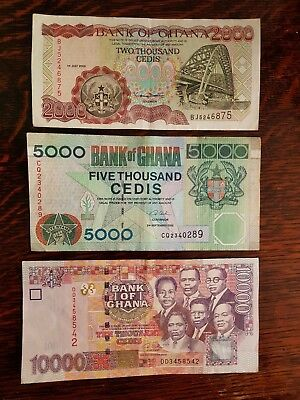 3 X Ghana  Banknotes ,see Pictures For Condition