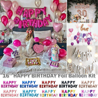 Pink Happy Birthday Letter Balloons.Multi Color Happy Birthday Letter Balloons Kit Alphabet Foil