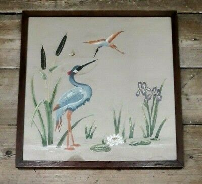 Vintage hand embroidered needlepoint exotic bird wall hanging wooden frame AC33