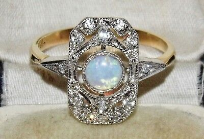 9ct Yellow Gold on Silver Opal Cabochon Art Deco Design Ring size Q