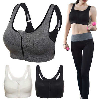 Women Sport Bra Crop Top Padded Cup lady Gym Front Zip Wireless High Impact
