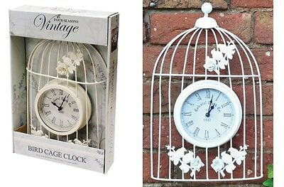 Vintage Antique Battery Operated Garden Wall Clock Cream Metal Bird Cage Clock