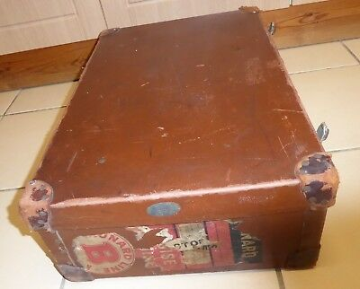 Vintage Antique Leather Suitcase Luggage Travel Case  - Prob 1940's Cunard Line